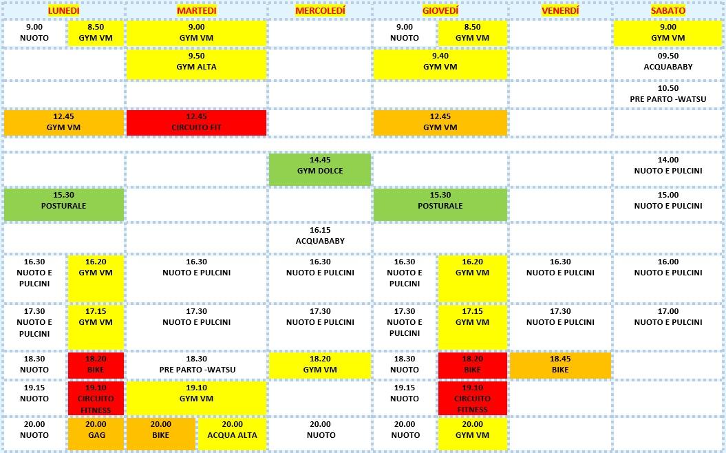 Calendario 2020 Donne.Tibidabo Corsi Di Acquafitness